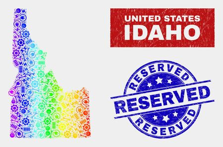 Element Idaho State map and blue Reserved grunge seal. Rainbow colored gradiented vector Idaho State map mosaic of mechanics parts. Blue round Reserved seal.