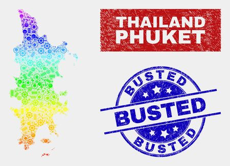Service Phuket map and blue Busted grunge seal. Rainbow colored gradient vector Phuket map mosaic of service parts. Blue rounded Busted badge. Фото со стока - 126703807