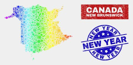 Factory New Brunswick Province map and blue New Year distress seal stamp. Spectral gradient vector New Brunswick Province map mosaic of engineering components. Blue round New Year seal. Illusztráció