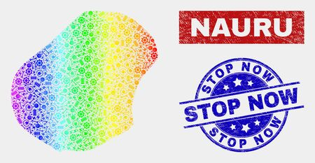 Constructor Nauru map and blue Stop Now grunge seal stamp. Rainbow colored gradiented vector Nauru map mosaic of engineering units. Blue rounded Stop Now seal.