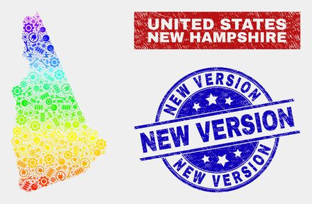 Element New Hampshire State map and blue New Version textured seal stamp. Colorful gradiented vector New Hampshire State map mosaic of tools items. Blue rounded New Version stamp. Illusztráció