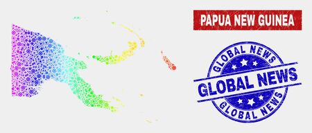 Engineering Papua New Guinea map and blue Global News scratched seal stamp. Spectral gradiented vector Papua New Guinea map mosaic of engineering. Blue round Global News seal. Illusztráció