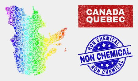 Tools Quebec Province map and blue Non Chemical distress seal stamp. Spectral gradient vector Quebec Province map mosaic of tools elements. Blue round Non Chemical stamp.