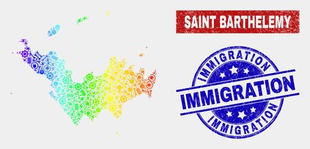 Assemble Saint Barthelemy map and blue Immigration textured seal. Colorful gradient vector Saint Barthelemy map mosaic of engineering parts. Blue round Immigration seal. Illustration