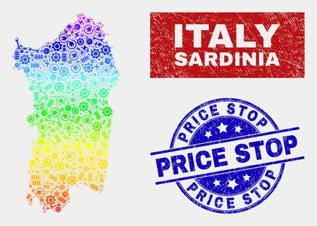 Component Sardinia map and blue Price Stop textured stamp. Colorful gradiented vector Sardinia map mosaic of engineering units. Blue rounded Price Stop stamp.