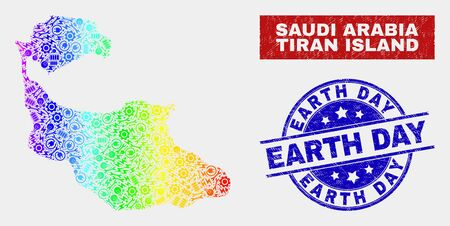Factory Tiran Island map and blue Earth Day grunge seal stamp. Spectral gradiented vector Tiran Island map mosaic of machinery components. Blue round Earth Day seal.