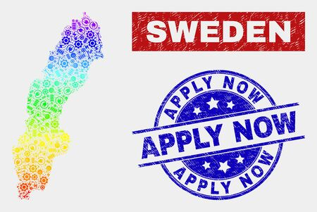 Productivity Sweden map and blue Apply Now scratched seal stamp. Rainbow colored gradiented vector Sweden map mosaic of equipment units. Blue rounded Apply Now seal. Banque d'images - 126703931