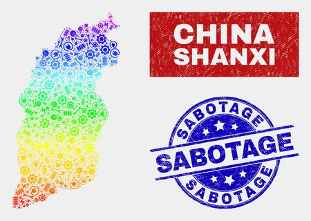 Assemble Shanxi Province map and blue Sabotage grunge stamp. Colorful gradient vector Shanxi Province map mosaic of engineering items. Blue round Sabotage stamp. Ilustração