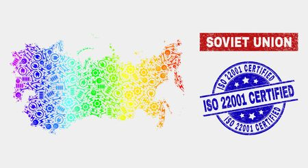 Industrial Soviet Union map and blue ISO 22001 Certified textured seal. Colorful gradient vector Soviet Union map mosaic of industrial units. Blue rounded ISO 22001 Certified seal.  イラスト・ベクター素材