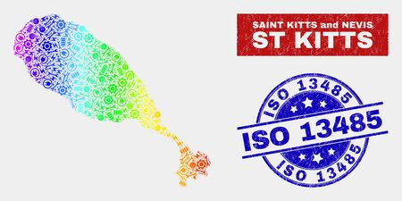 Assemble St Kitts Island map and blue ISO 13485 distress seal. Spectral gradient vector St Kitts Island map mosaic of repair components. Blue round ISO 13485 seal.