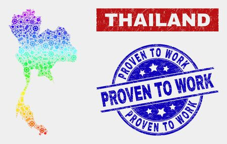Construction Thailand map and blue Proven to Work distress stamp. Spectral gradient vector Thailand map mosaic of engineering units. Blue round Proven to Work stamp.