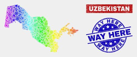 Engineering Uzbekistan map and blue Way Here textured seal. Rainbow colored gradiented vector Uzbekistan map mosaic of machinery. Blue round Way Here seal. Banque d'images - 126704147