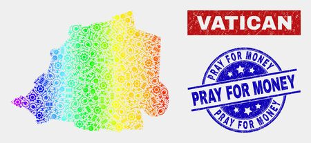 Service Vatican map and blue Pray for Money scratched seal stamp. Rainbow colored gradient vector Vatican map mosaic of equipment units. Blue rounded Pray for Money stamp. Banque d'images - 126704150