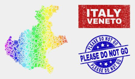 Production Veneto region map and blue Please Do Not Go textured seal stamp. Rainbow colored gradiented vector Veneto region map mosaic of mechanics units. Blue round Please Do Not Go seal. Illustration