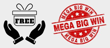 Vector hands give gift pictogram and Mega Big Win stamp. Red rounded textured watermark with Mega Big Win text. Vector combination for hands give gift in flat style. Illustration