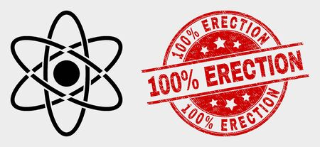 Vector atom icon and 100% Erection seal stamp. Red rounded distress seal stamp with 100% Erection text. Vector composition for atom in flat style. Black isolated atom icon.