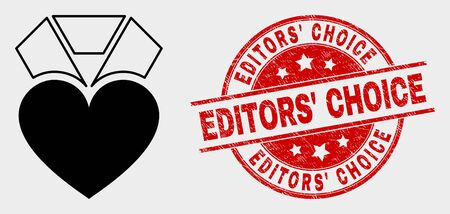 Vector heart award pictogram and Editors' Choice seal. Red round grunge seal with Editors' Choice text. Vector composition for heart award in flat style. Black isolated heart award pictogram.