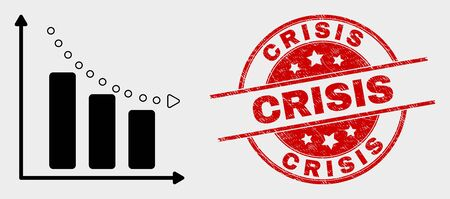 Vector recession bar chart pictogram and Crisis seal. Red round textured seal with Crisis caption. Vector composition for recession bar chart in flat style.