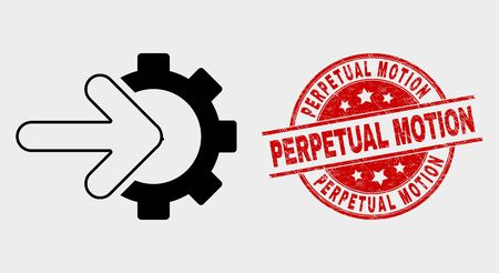 Vector cog arrow integration icon and Perpetual Motion stamp. Red round distress seal stamp with Perpetual Motion text. Vector composition for cog arrow integration in flat style.