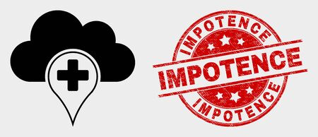 Vector medical cloud icon and Impotence seal. Red rounded distress seal with Impotence text. Vector combination for medical cloud in flat style. Black isolated medical cloud symbol. Illustration
