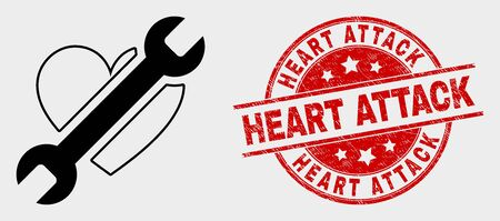 Vector repair heart pictogram and Heart Attack seal stamp. Red rounded scratched seal stamp with Heart Attack caption. Vector composition for repair heart in flat style.