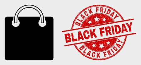 Vector shopping bag icon and Black Friday seal. Red round grunge seal stamp with Black Friday text. Vector composition for shopping bag in flat style. Black isolated shopping bag pictogram. Stock Illustratie