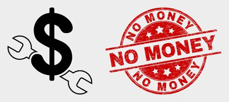 Vector repair price icon and No Money seal stamp. Red rounded scratched stamp with No Money caption. Vector combination for repair price in flat style. Black isolated repair price icon.