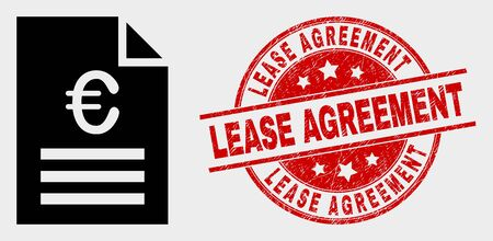Vector euro price page pictogram and Lease Agreement seal stamp. Red round scratched seal stamp with Lease Agreement caption. Vector composition for euro price page in flat style.