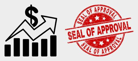 Vector sales trend charts pictogram and Seal of Approval seal. Red round scratched stamp with Seal of Approval text. Vector combination for sales trend charts in flat style.