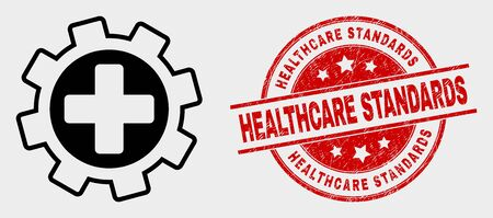 Vector medical service gear icon and Healthcare Standards seal. Red round distress seal stamp with Healthcare Standards caption. Vector combination for medical service gear in flat style.
