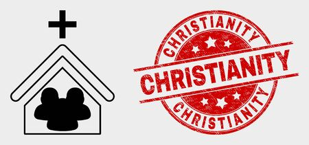 Vector church people pictogram and Christianity seal stamp. Red round textured seal stamp with Christianity text. Vector combination for church people in flat style. Çizim