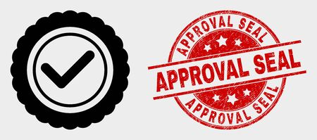 Vector approve seal pictogram and Approval Seal stamp. Red rounded distress seal stamp with Approval Seal text. Vector combination in flat style. Black isolated confirmation mark pictogram. 向量圖像