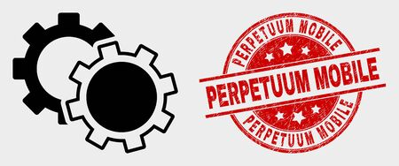 Vector cogs pictogram and Perpetuum Mobile seal stamp. Red round scratched seal stamp with Perpetuum Mobile caption. Vector composition for cogs in flat style. Black isolated cogs icon.