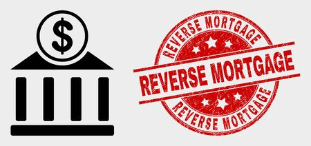 Vector dollar bank office icon and Reverse Mortgage seal stamp. Red rounded scratched seal stamp with Reverse Mortgage caption. Vector combination for dollar bank office in flat style.