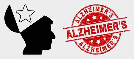 Vector open mind star pictogram and AlzheimerS seal stamp. Red rounded grunge seal with AlzheimerS caption. Vector composition for open mind star in flat style.