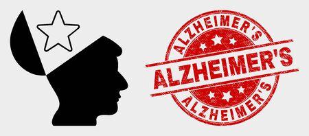 Vektor-Open-Mind-Stern-Piktogramm und AlzheimerS-Siegelstempel. Rotes abgerundetes Grunge-Siegel mit AlzheimerS-Beschriftung. Vektorkomposition für Open Mind Star im flachen Stil.