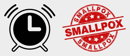 Vector alarm clock pictogram and Smallpox seal stamp. Red rounded scratched stamp with Smallpox text. Vector composition for alarm clock in flat style. Black isolated alarm clock pictogram. Ilustracja