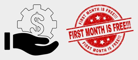 Vector financial service offer hand icon and First Month Is Free!!! seal stamp. Red round distress seal stamp with First Month Is Free!!! caption.