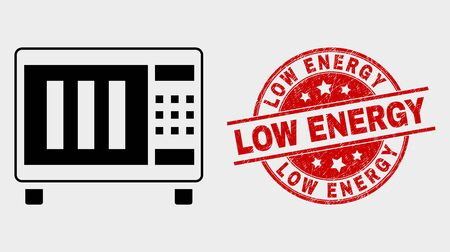 Vector microwave oven icon and Low Energy seal stamp. Red round scratched stamp with Low Energy caption. Vector composition for microwave oven in flat style. Black isolated microwave oven icon.