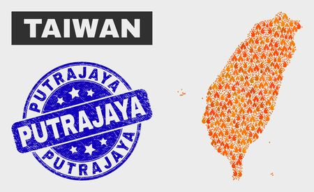 Vector composition of fire Taiwan map and blue round scratched Putrajaya seal. Fiery Taiwan map mosaic of flame items. Vector composition for fire protection services, and Putrajaya seal.