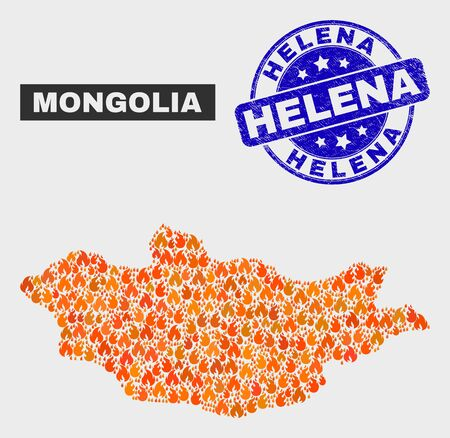 Vector composition of burn Mongolia map and blue round textured Helena seal stamp. Orange Mongolia map mosaic of flame symbols. Vector composition for fire protection services, and Helena seal stamp.