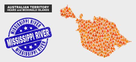 Vector collage of flame Heard and McDonald Islands map and blue rounded grunge Mississippi River stamp. Orange Heard and McDonald Islands map mosaic of flame symbols. Illustration