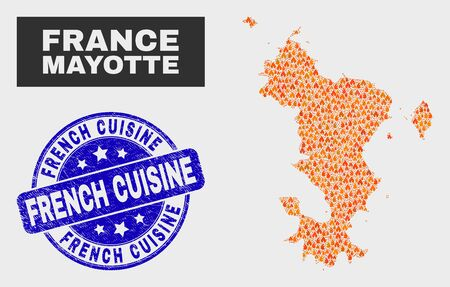 Vector composition of wildfire Mayotte Islands map and blue rounded grunge French Cuisine seal. Fiery Mayotte Islands map mosaic of flame items. Vector composition for insurance services, Illustration