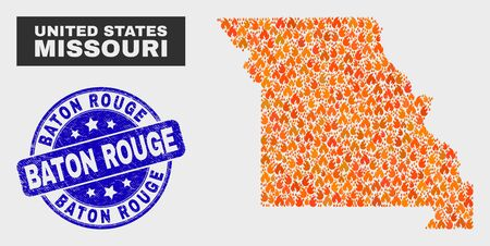 Vector collage of wildfire Missouri State map and blue rounded textured Baton Rouge seal stamp. Orange Missouri State map mosaic of flame elements. Vector combination for fire protection services, Ilustração