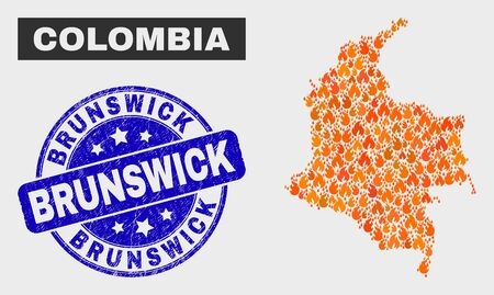 Vector composition of fire Colombia map and blue round grunge Brunswick seal stamp. Orange Colombia map mosaic of fire icons. Vector composition for safety services, and Brunswick seal stamp.