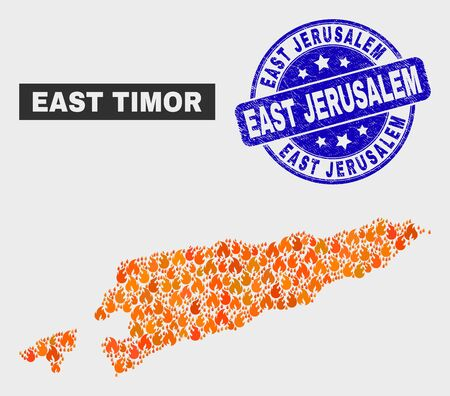 Vector collage of fire East Timor map and blue rounded distress East Jerusalem seal stamp. Orange East Timor map mosaic of flame icons. Vector collage for fire protection services,