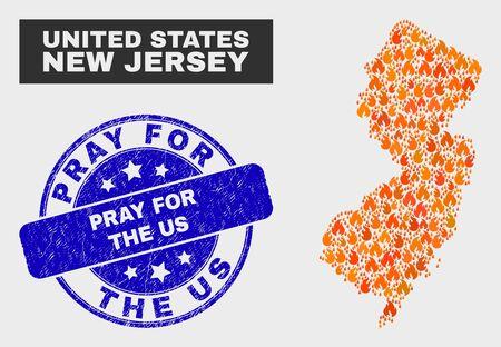 Composition vectorielle de la carte de l'État du New Jersey en flammes et du timbre texturé rond bleu Priez pour le timbre américain. Mosaïque orange de carte d'état de New Jersey des symboles de flamme. Composition vectorielle pour les services d'urgence,