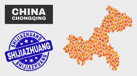 Vector composition of burn Chongqing City map and blue rounded scratched Shijiazhuang seal. Fiery Chongqing City map mosaic of fire elements. Vector composition for fire protection services,