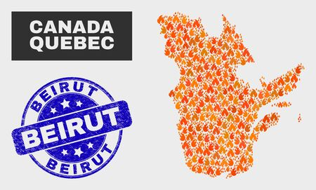 Vector composition of burn Quebec Province map and blue round scratched Beirut seal. Orange Quebec Province map mosaic of flame icons. Vector combination for emergency services, and Beirut seal stamp.