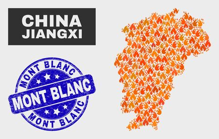 Vector composition of flamed Jiangxi Province map and blue rounded textured Mont Blanc seal stamp. Fiery Jiangxi Province map mosaic of flame elements. Vector composition for fire protection services,